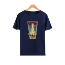 Letter Rocket Printed Round Neck Short Sleeve Graphic Tee