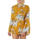 Mock Neck Floral Printed Long Sleeve Hollow Out Back Leisure Romper