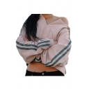 Chic Split Placket Contrast Striped Long Sleeve Crop Hoodie