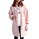 Lapel Collar Long Sleeve Plain Button Front Tunic Over Coat with Chest Flap Pockets