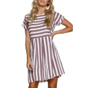 Chic Round Neck Striped Printed Short Sleeve Hollow Out Back Mini A-Line Dress