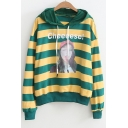 Letter Character Printed Striped Long Sleeve Casual Hoodie
