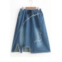Cat Embroidered Cut Out Detail Hem Drawstring Waist Midi A-Line Denim Skirt