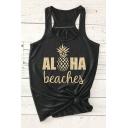 ALOHA Letter Pineapple Printed Round Neck Sleeveless Tank