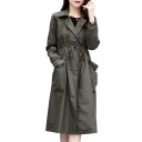 Drawstring Waist Plain Notched Lapel Collar Long Sleeve Trench Coat