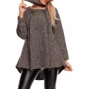 Round Neck Long Sleeve Zipper Embellished Loose Woolen Coat with Neckerchief