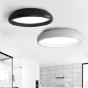 Decorative Indoor Home Lighting Designs 24W Matte Black/White Metal Dome Shade Flush Mount Lighting 17.32