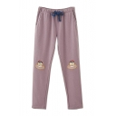 Drawstring Waist Cake Embroidered Comfort Slim Pants