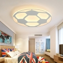 Soccer-Patterned LED Light Ceiling Light Fixture in White for Children Bedroom