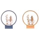 Nature Inspired Style Circle Wall Sconce in Blue/Wooden Finish 10.24