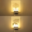 Simple Rectangular Shade LED Bedroom Wall Lamp in Nature-Inspired Style