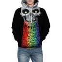 Colorful Liquid Skull Printed Long Sleeve Loose Hoodie