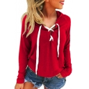 Lace Up Front Plain Long Sleeve Chic Hoodie