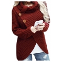 High Neck Button Embellished Split Hem Long Sleeve Plain Sweater
