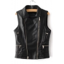 Lapel Collar Zip Up Sleeveless Plain PU Vest