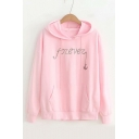 FOREVER Letter Anchor Embroidered Long Sleeve Casual Hoodie