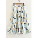 Zip Fly High Waist Geometric Midi A-Line Skirt
