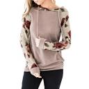 Contrast Floral Printed Long Sleeve Slim Hoodie