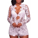 Chic Sheer Mesh Lace Long Sleeve Top with Slim High Waist Shorts Co-ords