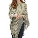 Hollow Out Tassel Trim V Neck Tunic Cape Sweater