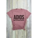 ADIOS Letter Printed Round Neck Short Sleeve T-Shirt
