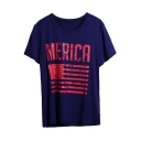 Flag Letter Printed Round Neck Short Sleeve T-Shirt