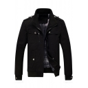 Zip Up Stand Up Collar Long Sleeve Plain Military Jacket
