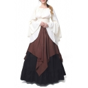 Elegant Vintage Color Block Round Neck Flare Long Sleeve Elastic Waist Maxi A-Line Dress