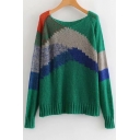 Casual Color Block Round Neck Long Sleeve Loose Sweater
