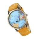 Fashion World Map Pattern Denim Quartz Unisex Watch