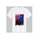 Smoke Character Photograph Printed Round Neck Short Sleeve T-Shirt