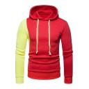 Color Block Long Sleeve Leisure Menswear Hoodie