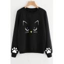 Cat Paw Printed Round Neck Long Sleeve Casual Sweatshirt