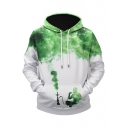 Color Block Smoke Galaxy Printed Long Sleeve Hoodie