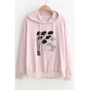 Abstract Pattern Applique Long Sleeve Hoodie