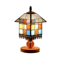 Tiffany Style Stained Glass Square Table Lamp Bed Light for Restaurant Bedroom 5.91