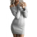 Sexy Plain Off The Shoulder Long Sleeve Mini Bodycon Knit Dress