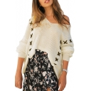 Lace Up Detail V Neck Long Sleeve Leisure Sweater