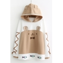 Color Block Cat Pattern Fish Embroidered Lace Up Long Sleeve Hoodie