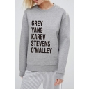 GREY Letter Printed Round Neck Long Sleeve Sweatshirt