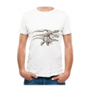 Dinosaur Skeleton Printed Round Neck Short Sleeve T-Shirt