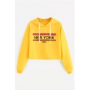 NEW YORK 1998 Letter Printed Long Sleeve Chic Crop Hoodie