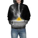 Pyramid Astronaut Printed Long Sleeve Oversized Hoodie