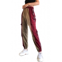 Color Block Letter Printed Rib Knit Trim Elastic Waist Leisure Cargo Pants