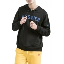 ANSWER Letter Printed Long Sleeve Leisure Hoodie