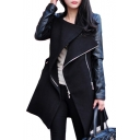 Lapel Collar PU Patchwork Long Sleeve Zipper Embellished Tunic Coat