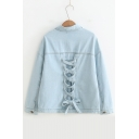Lace Up Back Long Sleeve Button Front Lapel Collar Plain Denim Jacket