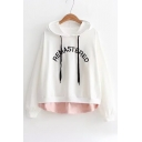Fake Two Piece Letter Embroidered Long Sleeve Hoodie