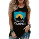 HAPPY CAMPER Letter Landscape Printed Round Neck Sleeveless Tank