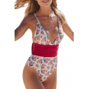 Spaghetti Straps Sleeveless Color Block Tie Waist Floral Printed One Piece Swimwear